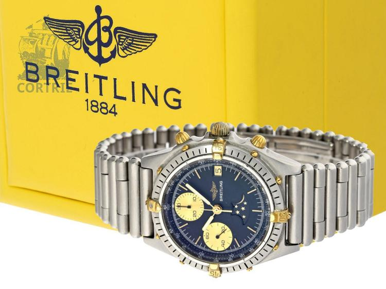 Wristwatch: rare vintage Breitling 'Luna' Chronomat with moon, original box (NO LIVE FEE)
