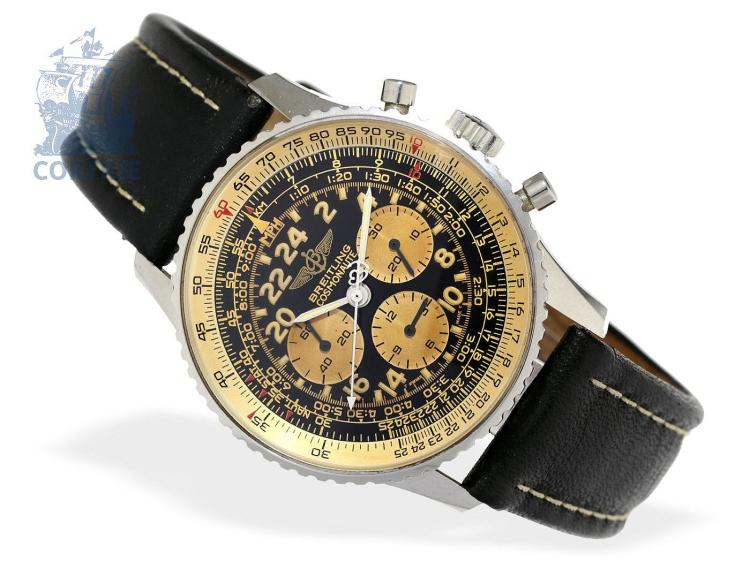 Wristwatch: very rare Breitling pilot's chronograph, Navitimer Cosmonaute 'Serie Speciale' with glazed back, Ref. D12021, from 1995, with original box (NO LIVE FEE)