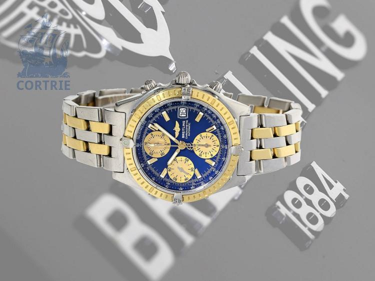Wristwatch: Breitling Chronomat with solid gold bezel, ref. 13352, certified automatic chronometer with all certificates and box (NO LIVE FEE)