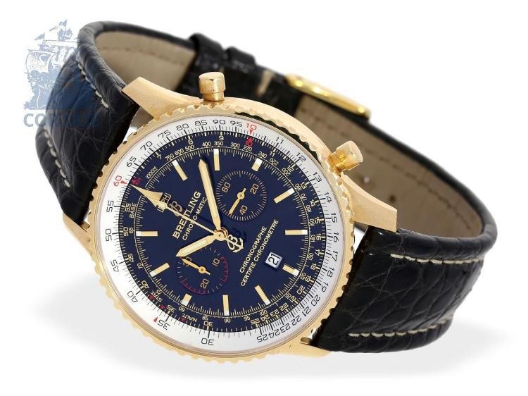 Wristwatch: Breitling rarity, 'Left-Handed Chrono-Matic', ref. K41350, 18 K gold version limited to only 100 pieces, top condition, with original box (NO LIVE FEE)