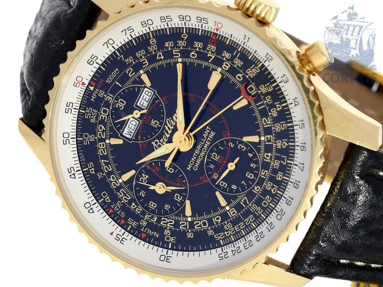 Wristwatch: Breitling rarity, limited Datora Montbrillant Chronometer No.007/100, 18 K gold, with all certificates and box, from 2002 (NO LIVE FEE)