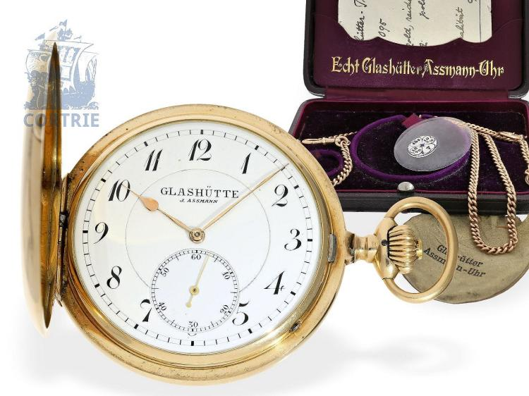 Pocket watch: important Glashütte precision pocket watch, gold deck watch quality 1A Julius Assmann Glashütte no. 21095 with original box and original certificates, Glashütte ca. 1900 (NO LIVE FEE)