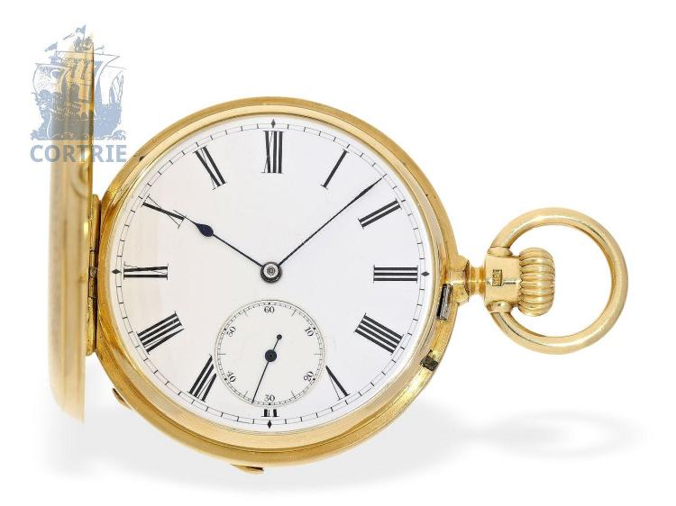 Pocket watch: very rare Glashütte gold hunting case watch, Moritz Großmann no.4641, ca. 1880, delivered to Fernando Ganter Madrid (NO LIVE FEE)