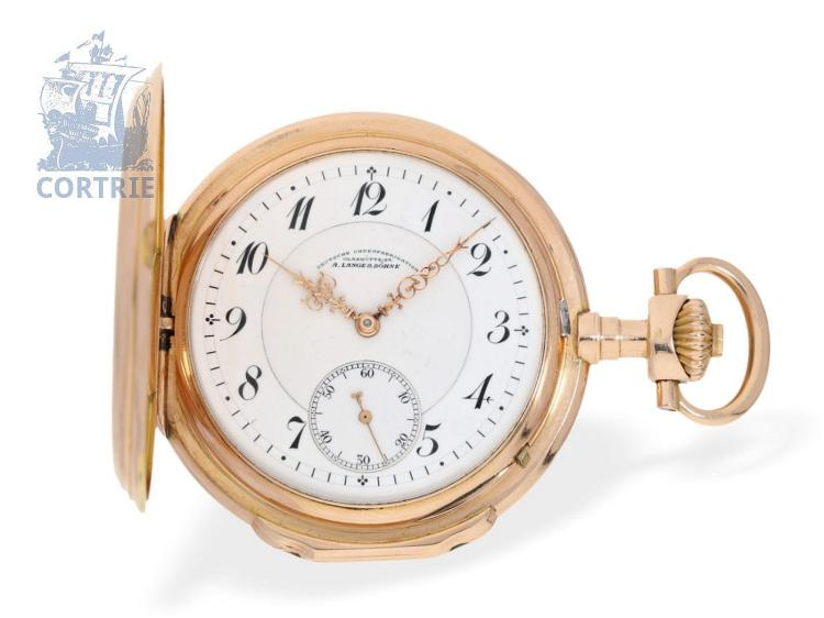 Pocket watch: very fine and big A. Lange & Söhne Glashütte pink gold hunting case watch, Louis XV type, with original box, Glashütte 1906 (NO LIVE FEE)