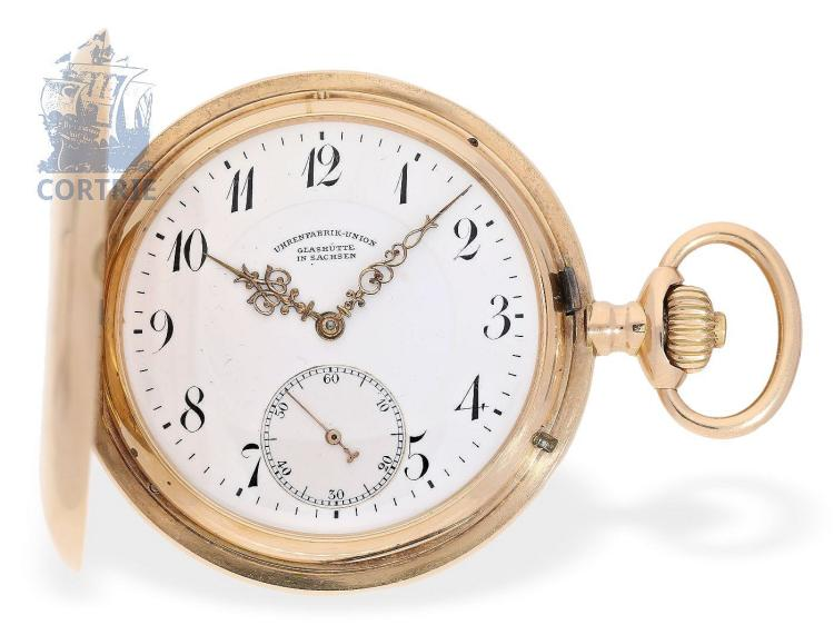 Pocket watch: pink gold Glashütte precision pocket watch, Uhrenfabrik Union Glashütte no.76808 (NO LIVE FEE)