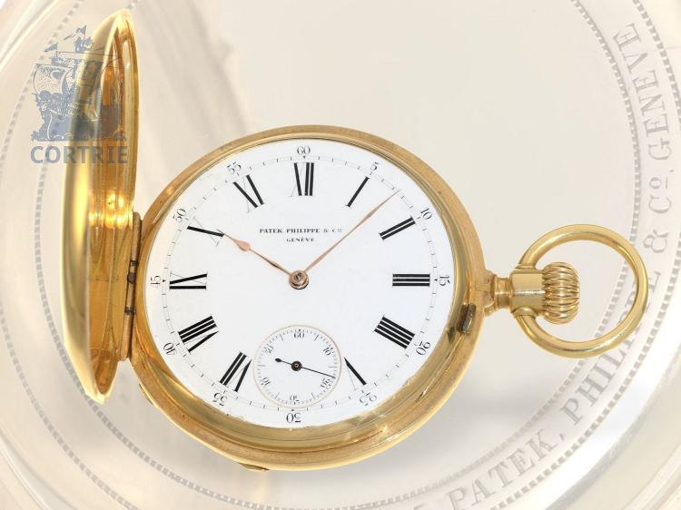 Pocket watch: early and heavy Patek Philippe chronometer watch, rare movement, Geneve 1882 (NO LIVE FEE)