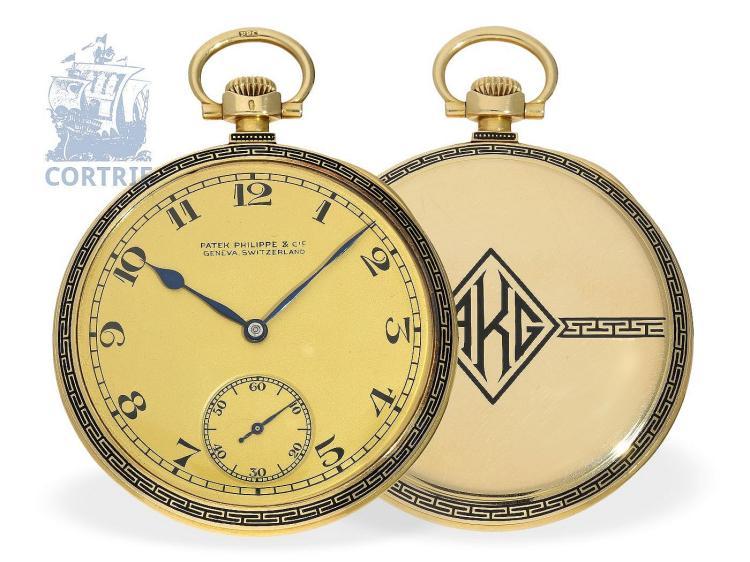 Pocket watch: exquisite gold/enamel Art Deco dress watch Patek Philippe 'Qualität Extra', with original box, Geneva ca. 1928 (NO LIVE FEE)
