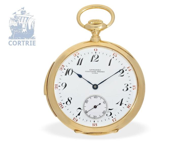 Pocket watch: big exquisite minute repeater with special dial, Longines, ca. 1918 (NO LIVE FEE)