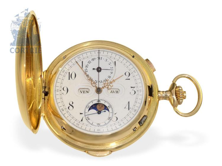 Pocket watch: very heavy and big astronomical gold hunting case watch with 6 complications, Switzerland ca. 1900 (NO LIVE FEE)