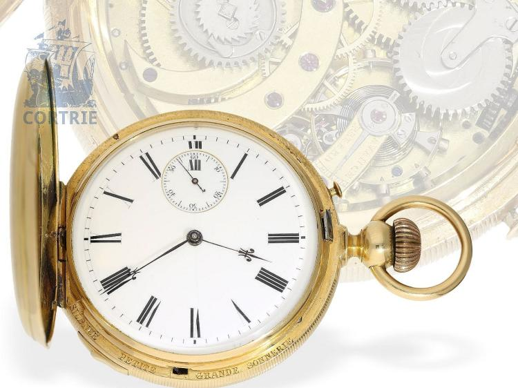 Watch: very fine, heavy and complex Grande & Petite Sonnerie clockwatch repeater, rare construction, Switzerland ca. 1870 (NO LIVE FEE)