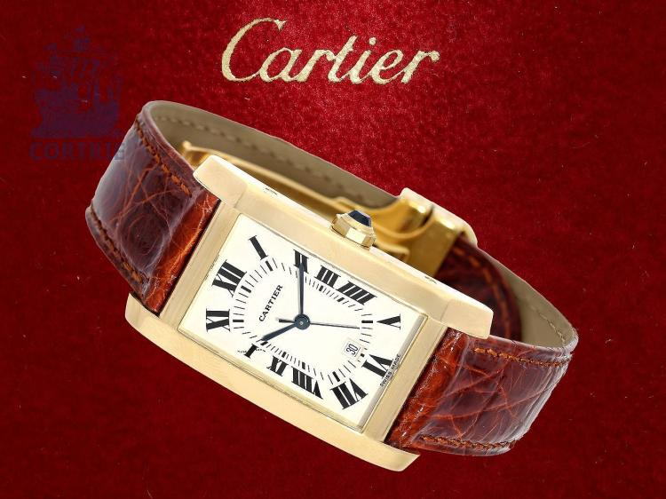 Wristwatch: luxurious Cartier 'Tank Americaine Automatic', well-kept condition, full service Cartier 2016, warranty (NO LIVE FEE)