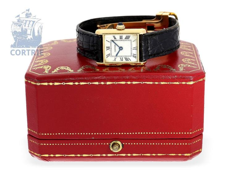 Wristwatch: vintage Cartier ladies watch with original box, 'Tank Louis Cartier', from the 80s (NO LIVE FEE)
