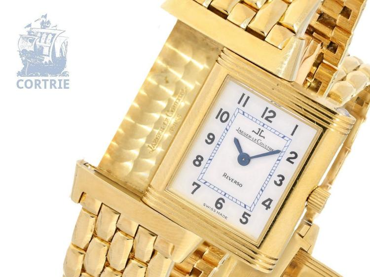Wristwatch: exquisite ladies watch Jaeger Le Coultre Reverso ref.260, 18K solid gold, original certificates, original price ca. 20,000 € (NO LIVE FEE)