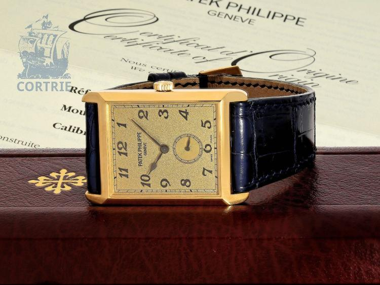Wristwatch: big Patek Philippe gentlemen's watch 'REF. 5109J GONDOLO BREGUET', condition like new, with box and all certificates (full set) (NO LIVE FEE)