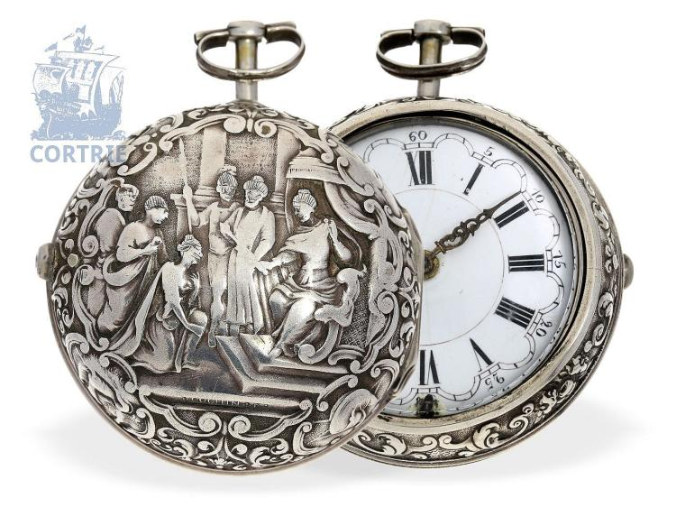 Pocket watch: early English paircase repoussé verge watch with signed Cochin case, England ca. 1740 (NO LIVE FEE)