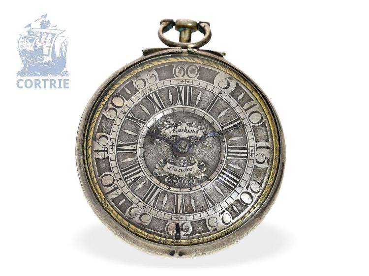 Pocket watch: early champlevé pocket watch, important English watchmaker, James Markwick II (1692-1730) (NO LIVE FEE)