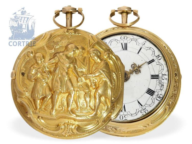Pocket watch: very fine repoussé paircase verge watch with signed case, excellent condition, Allan Walker London, ca. 1775 (NO LIVE FEE)