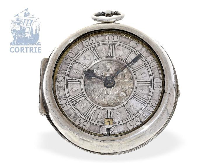 Pocket watch: early English paircase verge watch with date, Francois Good(o) London, ca. 1710 (NO LIVE FEE)