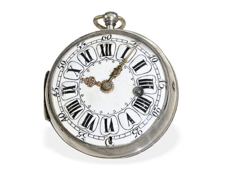 Pocket watch: rare oignon watch with silver case, Albert Baillon Paris ca. 1720 (NO LIVE FEE)