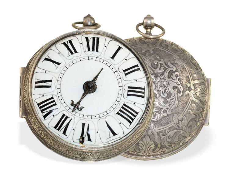 Pocket watch: extravagant and early 1-hand Oignon watch with silver decoration and central winding, probably Isaac Duhamel et Cie Paris, ca. 1690 (NO LIVE FEE)