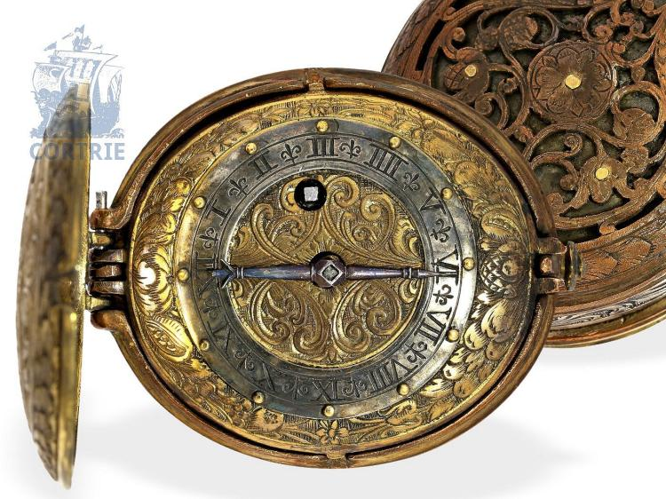 Pendant watch: decorative oval pendant watch, Renaissance style, German, probably ca. 1700 (NO LIVE FEE)