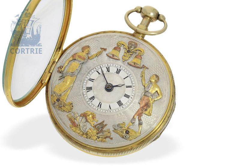 Pocket watch: big French verge watch repeater with figured automaton Jaquemart, ca. 1820 (NO LIVE FEE)