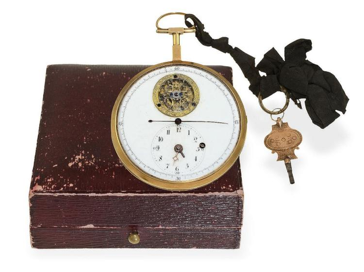 Pocket watch: very rare and big 18K verge watch/deck watch with center seconds and visible balance, probably Guinand à Paris, ca. 1800 (NO LIVE FEE)
