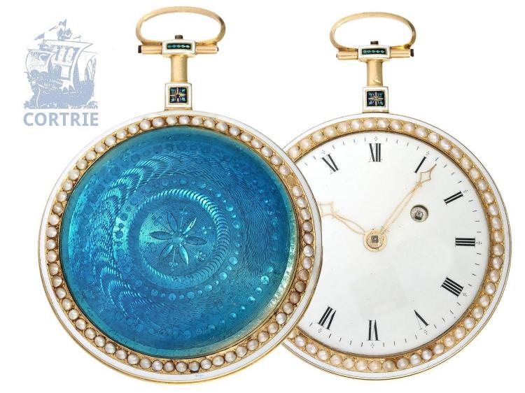 Pocket watch: very fine and flat gold/enamel pocket watch with pearls on both sides, probably Gregson Paris, ca. 1780 (NO LIVE FEE)