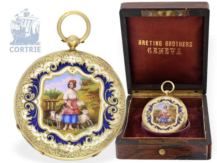 Pocket watch: exquisite and super flat gold/enamel pocket watch by Vacheron Geneve, ca. 1835, one of the earliest watches, no.686 (NO LIVE FEE)