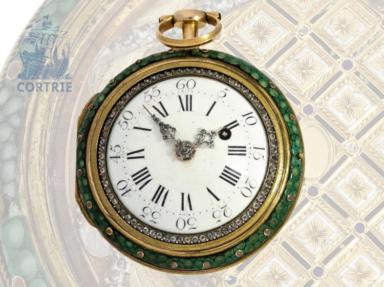 Pocket watch: exquisite gold/enamel verge watch with jewels and original shagreen protective case, Marchand a Paris, ca. 1785 (NO LIVE FEE)
