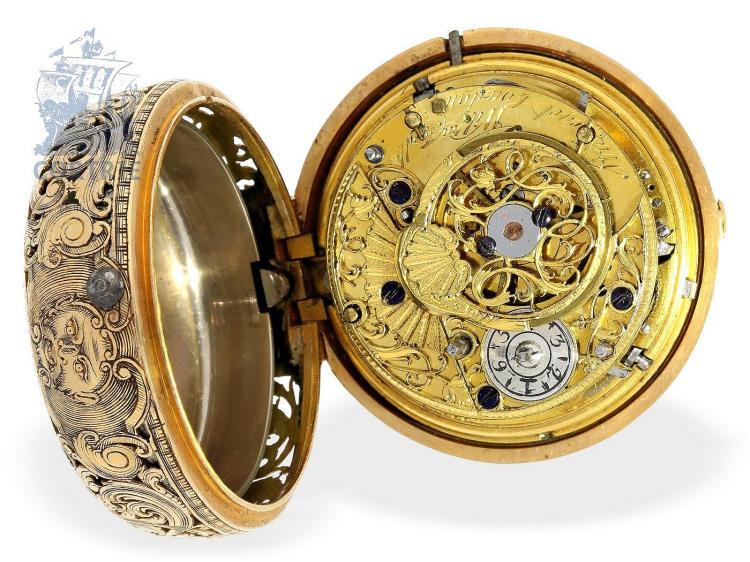 Pocket watch: very fine and early English paircase verge watch repeater, à toc & à tact, William Frederic Strigel London, ca. 1730, from German nobleman's possession (NO LIVE FEE)