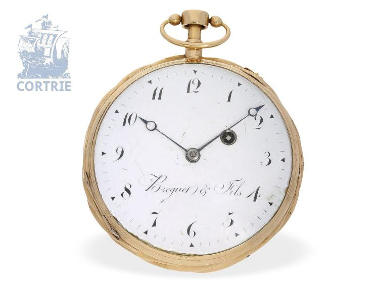 Pocket watch: big French verge watch, rare carillon striking with 3 hammers, signed Breguet & Fils, ca. 1800 (NO LIVE FEE)