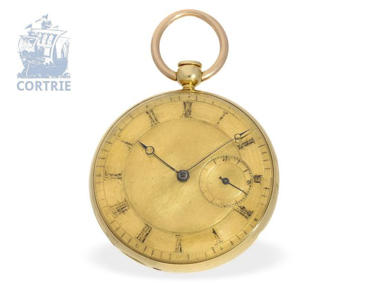 Pocket watch: technical interesting and early English pocket watch with subsidiary seconds, repeater and duplex escapement, John Barwise 1830,, Royal watchmaker of George IV of the United Kingdom (NO LIVE FEE)