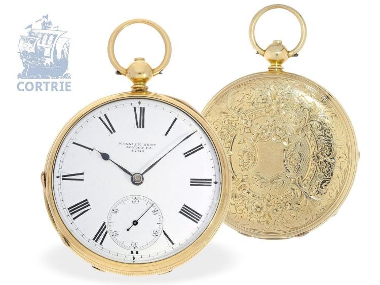 Pocket watch: very big English deck watch, Ankerchronometer, Royal chronometer maker William Bent London no.13050, London 1872 (NO LIVE FEE)