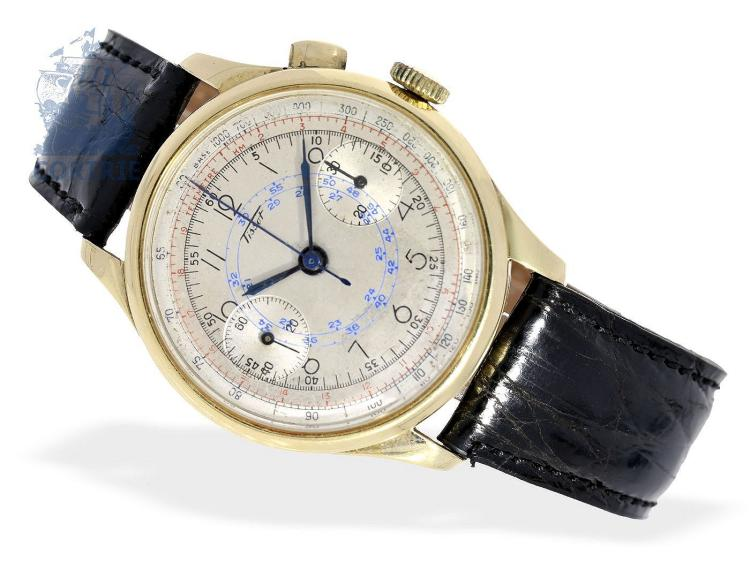 Wristwatch: early, big and beautiful gold chronograph by Tissot, from the 30s (NO LIVE FEE)