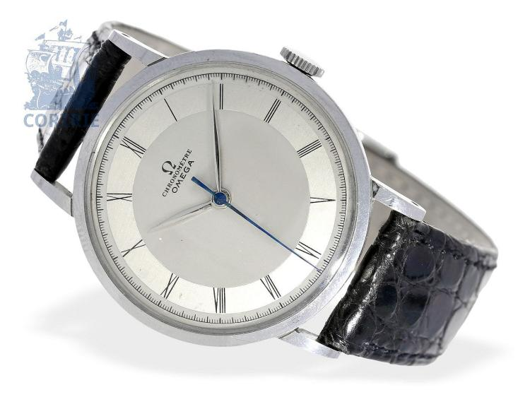 Wristwatch: popular stainless steel chronometer by Omega, center seconds, ca. 1943 (NO LIVE FEE)