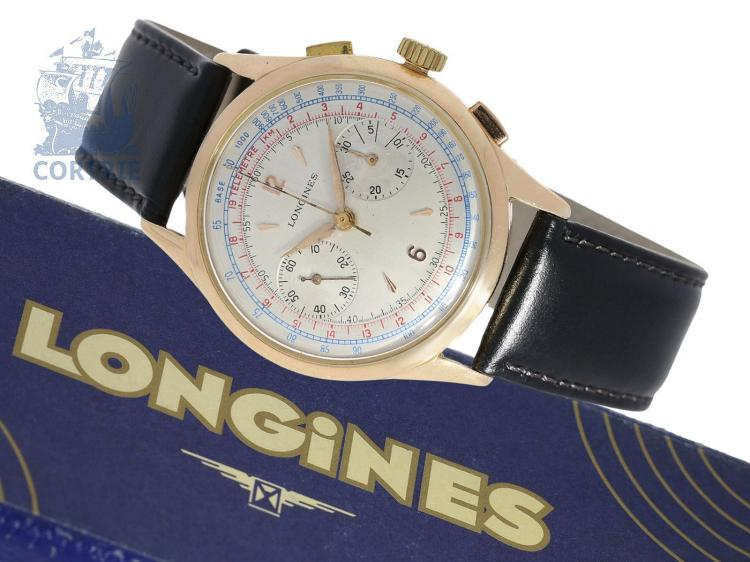 Wristwatch: very big pink gold Longines chronograph with tachymeter and telemeter scale, ca. 1955 (NO LIVE FEE)
