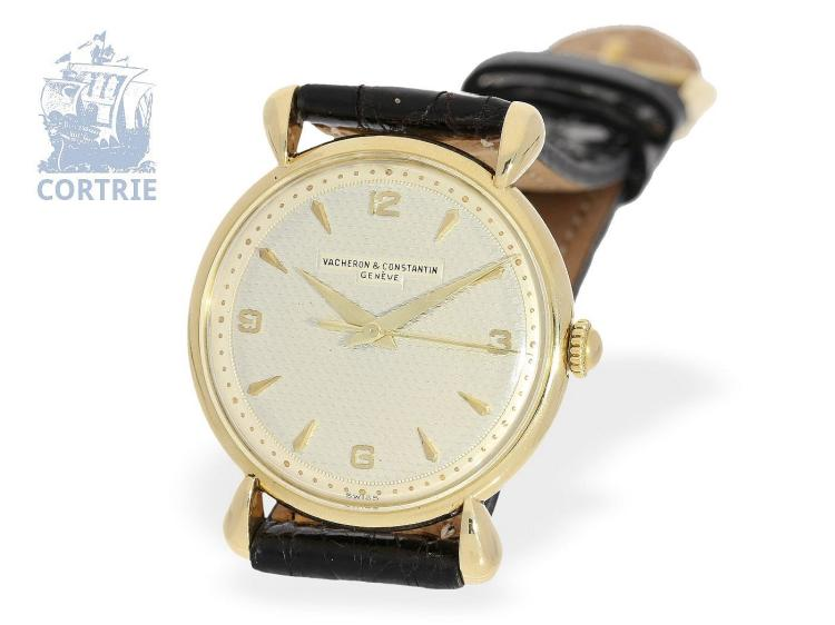 Wristwatch: very fine 'VACHERON & CONSTANTIN REF. 4649 GOLD TEARDROP LUGS', excellent condition, ca. 1948, with original box (NO LIVE FEE)