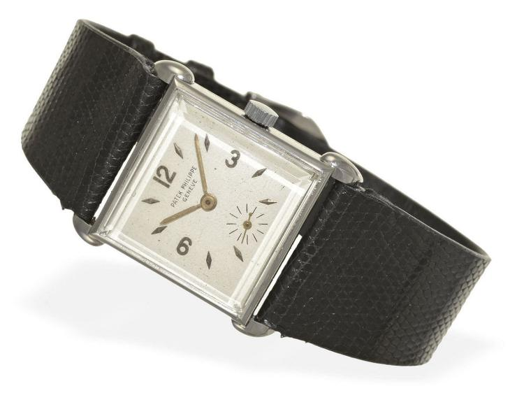 Wristwatch: rare and early square Patek Philippe gentlemen's watch, stainless steel, ref.1535, Geneva 1947/48 (NO LIVE FEE)
