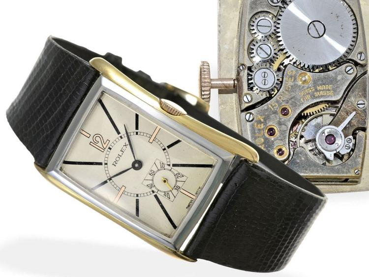 Wristwatch: very rare and big sized gentlemen's watch with curved case 'Hour Glass', signed Rolex ref. 2301, ca. 1936 (NO LIVE FEE)