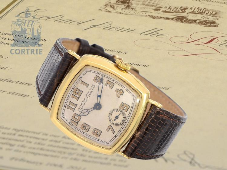 Wristwatch: extremely rare Patek Philippe gentlemen's watch, so-called .'Cushion-Officier' from 1927, with extract of the archive (NO LIVE FEE)