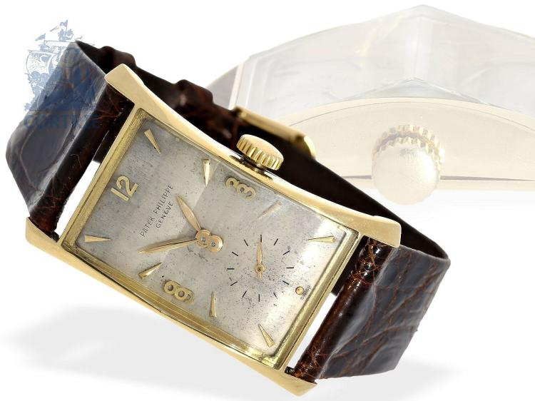 Wristwatch: very rare gentlemen's watch, PATEK PHILIPPE REF. 1593 'HOUR GLASS' Patek Philippe, Genève 1951 (NO LIVE FEE)