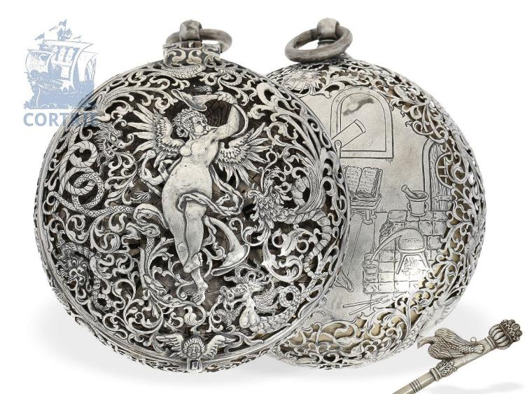 Pocket watch: unique North German carriage clock with self striking hours, attributed to Michael Pfündler Schleswig, ca. 1670 (NO LIVE FEE)