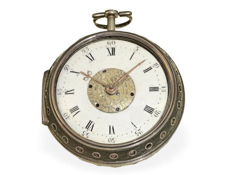 Pocket watch: very rare English verge watch with alarm, rare condition, Henry Massy London ca. 1700 (NO LIVE FEE)