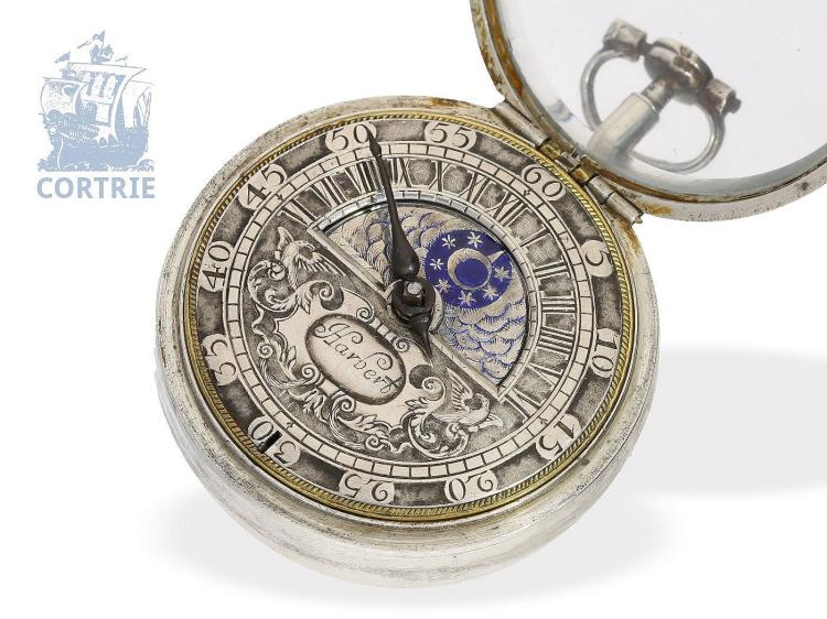 Pocket watch: very rare English verge watch with retrograde hours and day/night indication, important watchmaker Cornelius Harbert London Bridge 1666-7010 (NO LIVE FEE)