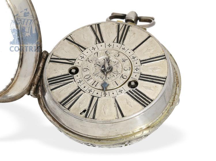 Pocket watch: rare very early Geneva pocket watch with alarm, Thomas Moilliet, ca. 1700 (NO LIVE FEE)