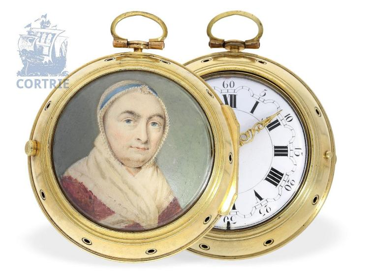 Pocket watch: extremely rare English clockwatch with half hour self-striking, important watchmaker, Fromanteel & Clarke, London, ca. 1700 (NO LIVE FEE)