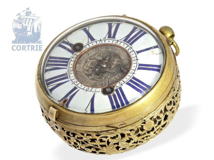 Pocket watch: rare and extremely early oignon watch with alarm, ca. 1680, Jaques Cogniet (Coignet) a Paris (1676-1691) (NO LIVE FEE)