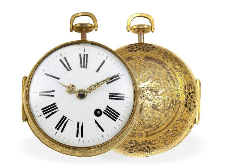 Pocket watch: very rare Oignon repeater with mock pendulum, Isaac Thuret Paris, Royal watchmaker of the court Louis XIV 1669-1700 (NO LIVE FEE)