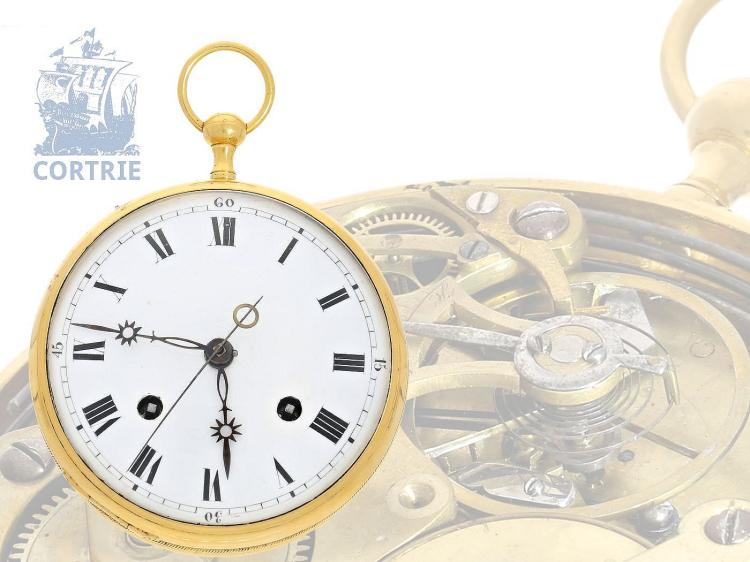 Pocket watch: extremely rare small carriage clock/coach clock with spring detent escapement, repeater and self striking, probably Switzerland ca. 1800 (NO LIVE FEE)